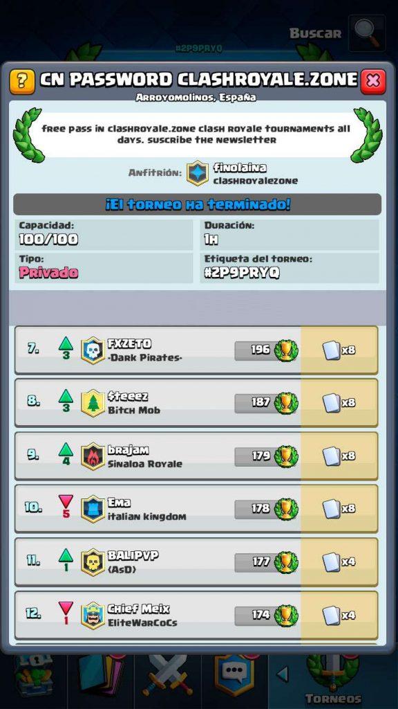 imagen de los ganadores del 32º torneo gratuito Clash Royale Zone parte 2