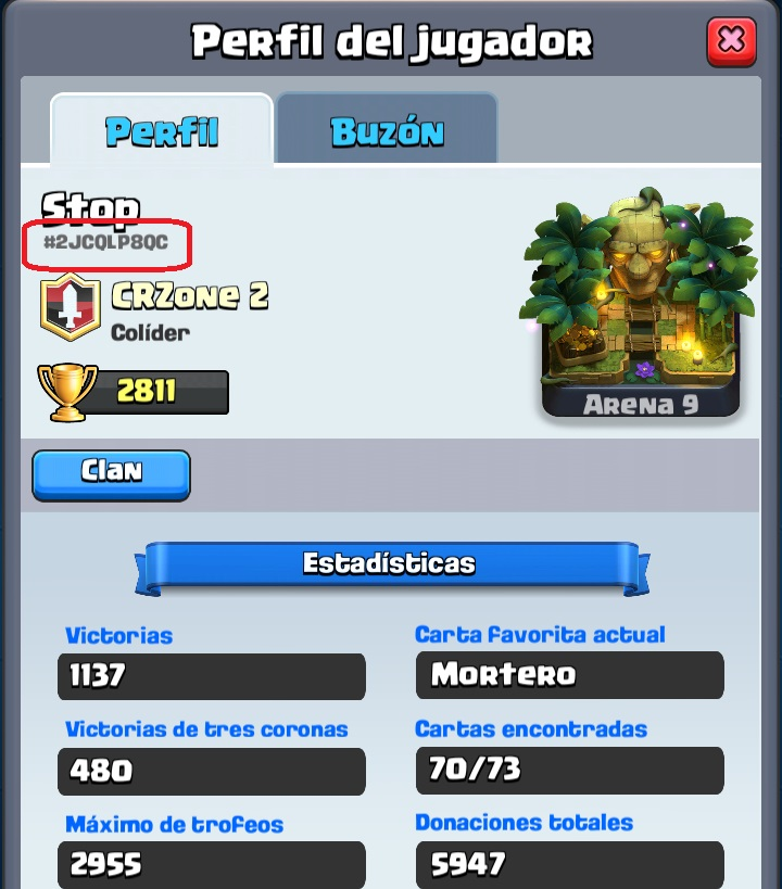 Mis estadísticas de Clash Royale